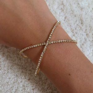 Women's Crisscross Bangle Bracelet Silver Gold